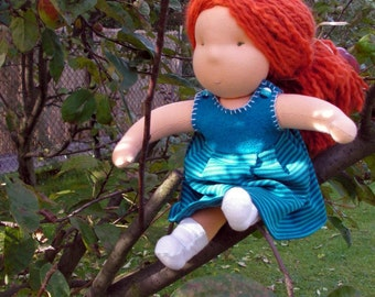 ready to ship, handmade redhead waldorf doll, red hair, waldorf baby girl doll, large waldorf doll, steiner doll, cloth doll, handmade doll