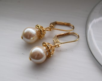 Gold plated glass pearl earrings
