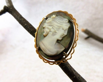 Vintage Gold Wash over Sterling and carved Abalone shell Cameo Brooch, Vintage Cameo Brooch signed Beau, Victorian Sterling Cameo Brooch