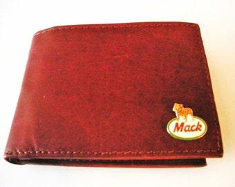 Mack Truck Brown Calfskin Men's Bifold Wallet
