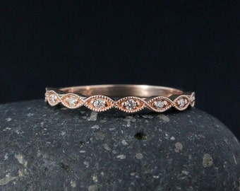 White Diamond Milgrain Wedding Band - Vintage Inspired - Rose Gold
