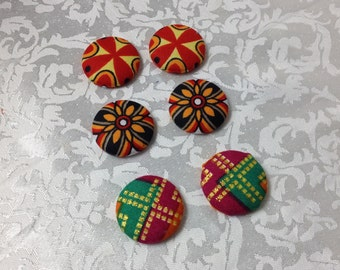 African Fabric Earrings, Fabric Button earrings, Ankara Fabric Earrings, African Jewelry, Fabric Earrings, Button earrings, African Fashion