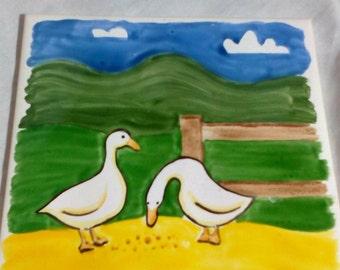 Vintage Australian Made Johnson's Geese Tile