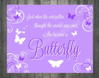 Purple BUTTERFLY Wall Print/Girls room/Wall Decor/Girl/Table Decor/INSTANT-DOWNLOAD/ 8x10 Sign/