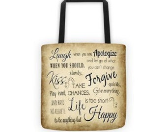 Tote bag-Laugh when you can/Tote/Canvas Tote/Brown/Tan/Black