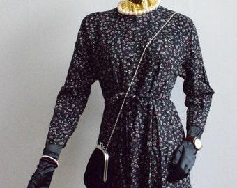 Vintage black dress with flowers grunge dress