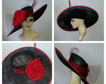 Stunning extra large red and black statement hat