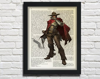 McCree, Overwatch, printed on Vintage Paper  - dictionary art print, book prints