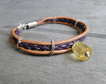 Triple bracelet Sterling silver and leather Leather bracelet  purple leather braid leather lemon quartz  purple lemon