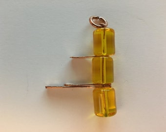 Copper and Glass Bead Pendant