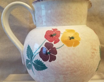 Hand Painted Italian Pitcher with Floral Motif