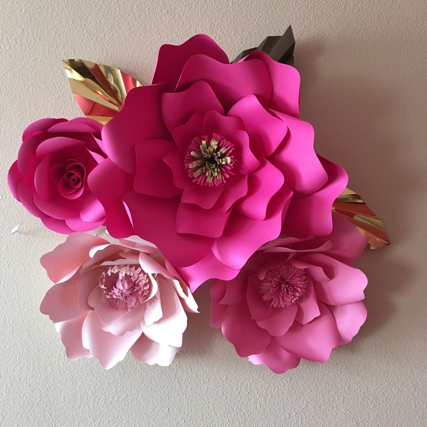 4 Giant paper flowers Kate Spade inspired colors giant flower