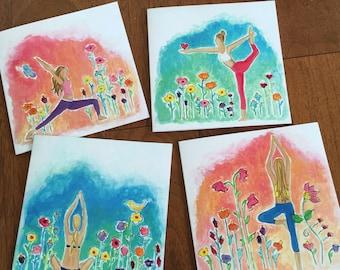 Yoga series -  Yoga greeting cards, yoga notecards, Yoga art, Floral, Whimsical, Art cards, yoga girl, yoga gift )