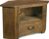Rustic plank Furniture NEW Real Solid Wood Corner Tv Cabinet Stand Entertainment Unit With DVD Drawer rustic pine furniture