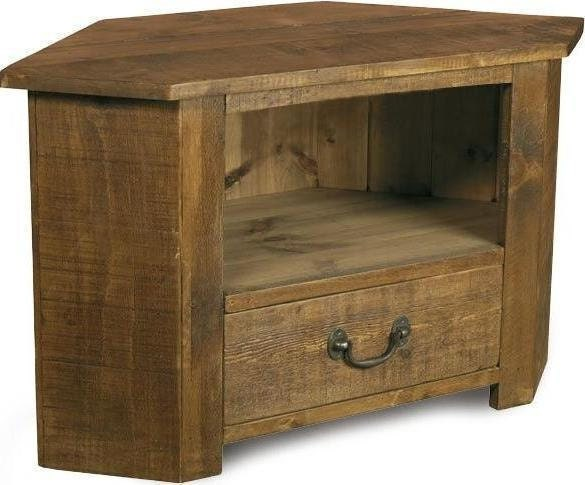 Rustic Plank Furniture NEW Real Solid Wood Corner Tv Cabinet