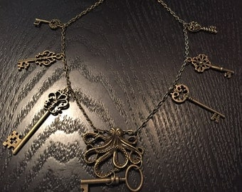 Steampunk Octopus and Skeleton key charm necklace