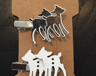 Black and White Deer Clips