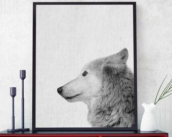 Wolf Head Print, Woodlands Wolf Art, Wolf Decor, Wild Animal Nursery Decor, Scandinavian Modern, Printable Wolf Photography