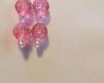 Handmade Pink & Clear Post Dangle Earrings
