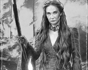 Melisandre and The Fire - Game of Thrones illustration A3 print