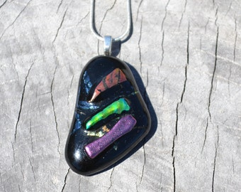 Handmade fused (tack fused) glass pendant/necklace by MMCREW HANDMADE
