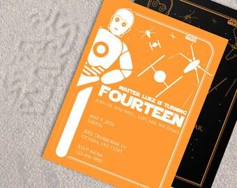 Star Wars invitation | Birthday party invite | C3PO invitation | Star Wars Birthday | abstract art