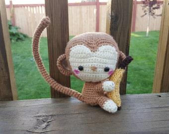 Cute Monkey and Banana amigurumi plushy