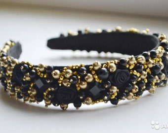 Black and gold beaded headband Baroque headband Beaded crown Beaded headband Black headband