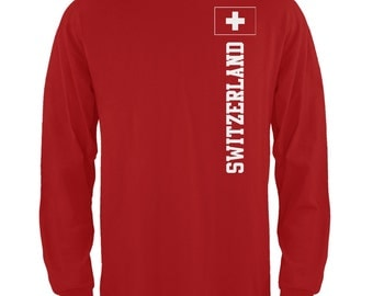 World Cup Switzerland Red Long Sleeve T-Shirt