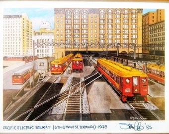 Vintage Stan Cline Signed Print Pacific Electric Railway Los Angeles 10x12 Framed & Matted