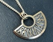 "SHEILA FLEET Sterling Silver ""Runic Iris"" Orkney Isles Scottish Pendant NECKLACE"