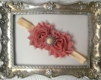 Infant / Baby / Headband / Vintage pink shabby flowers / Ivory headband / Photo prop / Baby shower gift