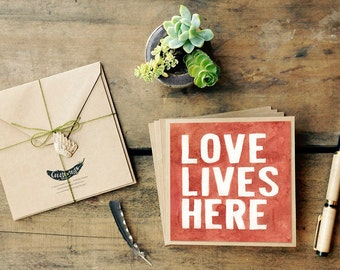 "4 ""Love Lives Here"" Art Greeting Cards 5.5 x 5.5 by Createwings Designs 