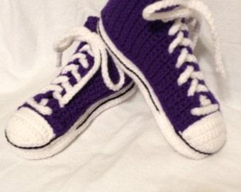 Converse hi-top crochet slippers