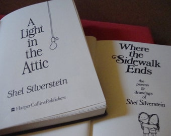 Set of 2 First Edition Classic Shel Silversitein Books 'Where the Sidewalk Ends' & 'A Light in the Attic'