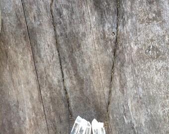 THE ROME Quartz Crystal Cluster Pendant Antique Bronze Bar Chain Necklace