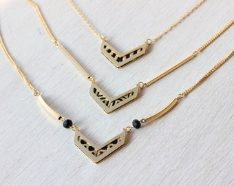 Chevron pendant , geometric necklace charm, urban jewelry, gift necklace