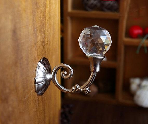 Rhinestone Glass Wall Hook Decorative Hooks Coat Hangers Clear