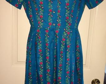 Vtg Bugelfrei Blue Floral Pleated Dress Sz M