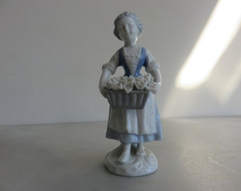 Gerold Porcelain Bavaria West Germany: Young Girl with Basket of Flowers
