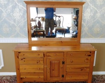 Ethan Allen Country Craftsman Knotty Yellow Pine Bedroom Dresser w/ Mirror 1990s 19-5313-657
