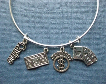 Casino Bangle - Gambling Charm Bracelet - Poker Jewelry - Gambler - Casino - Poker - Charm Bracelet - Bangle - B134