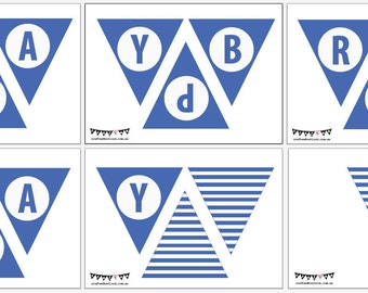 Happy Birthday Bunting Flag - Blue - Digital File - Instant Download