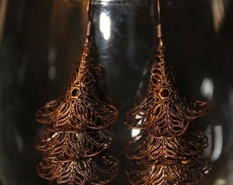 Lace Chandelier Earrings - Bronze