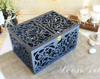 Dark grey Wedding Card Box-Wedding Gift-Plywood box-Love Story Keepsake Box-Wedding money box-Wedding card money holder-Gift Card Holder
