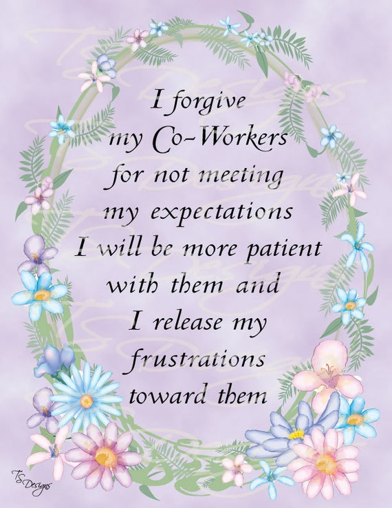 Forgive My Co-Workers Affirmation Print