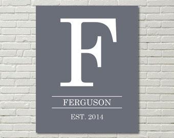 Last Name Monogram Initial; Home decor; wall art; digital print; personalized; 8x10 gallery wall