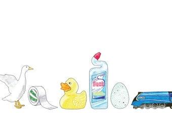 Ducks in a Row - card OR mounted print - duck / duck tape / rubber duck / toilet duck / duck egg / mallard train