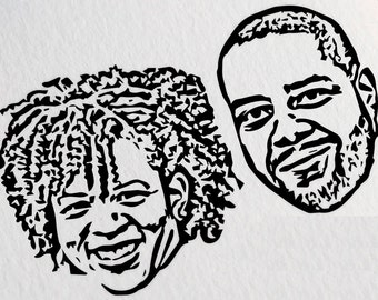 Personalized Couple Portrait Stamp, Custom Face Stamp, Custom Couple Portrait Stamp, Stamp for Couples, Christmas Portrait Stamp