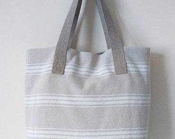 Striped Woven Cotton Tote bag, Sandy white